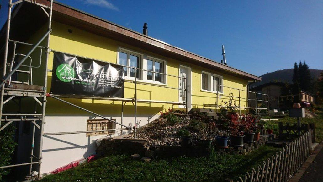 Renovation Fassade und Sockel ( Risssanierung mit Netz, neu Abrieb und streichen